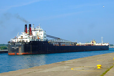 Freighter near the Soo Locks
